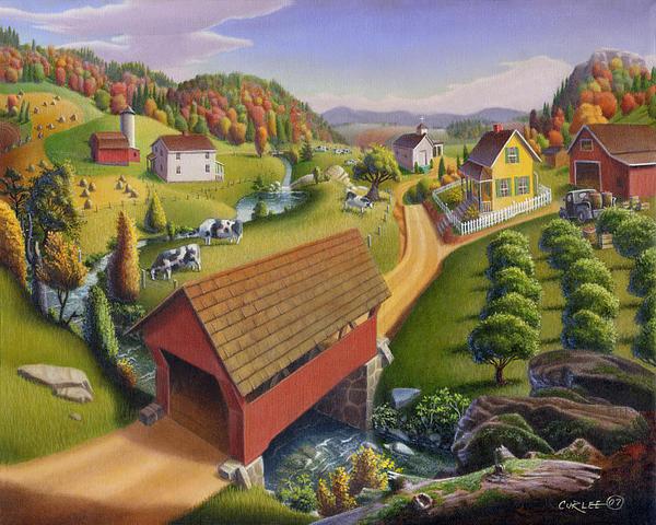 Folk Art Covered Bridge Appalachian Country Farm Summer Landscape - Appalachia - Rural Americana Print by Walt Curlee