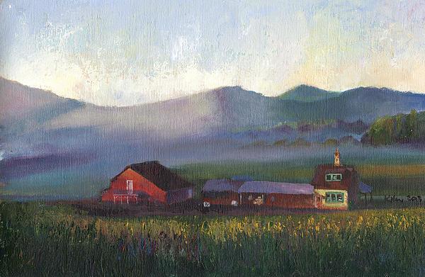 Folk School Barn At Dawn Print by William Killen