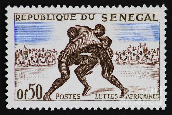 Folk Wrestling Vintage Postage Stamp Print Print by Andy Prendy