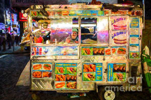 Food Cart In New York City Print by Diane Diederich