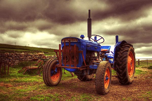 Fordson Super Dexta Tractor On Shetland Croft Print by Anne Macdonald