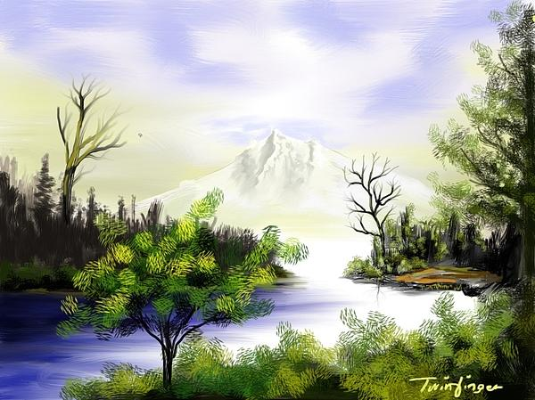Forest Lake Print by Twinfinger