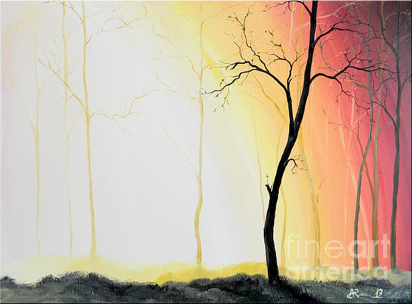 Forest Sunset Print by Denisa Laura Doltu