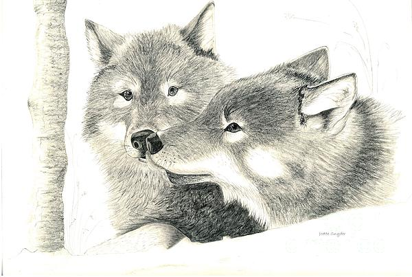 Forever Wolf Love-the Greeting Print by Joette Snyder