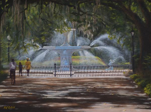 Forsyth Park Fountain Savannah Ga Print by Alex Vishnevsky