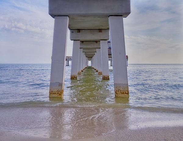 Fort Myers Beach Pier Print by Kim Hojnacki