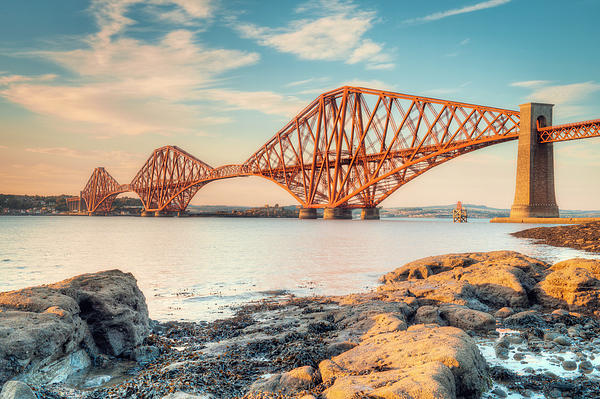 Forth Bridge At Sunset Print by Ray Devlin