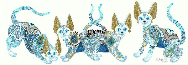 Jennifer  Anne Esposito - Four Asian Porcelain Cats