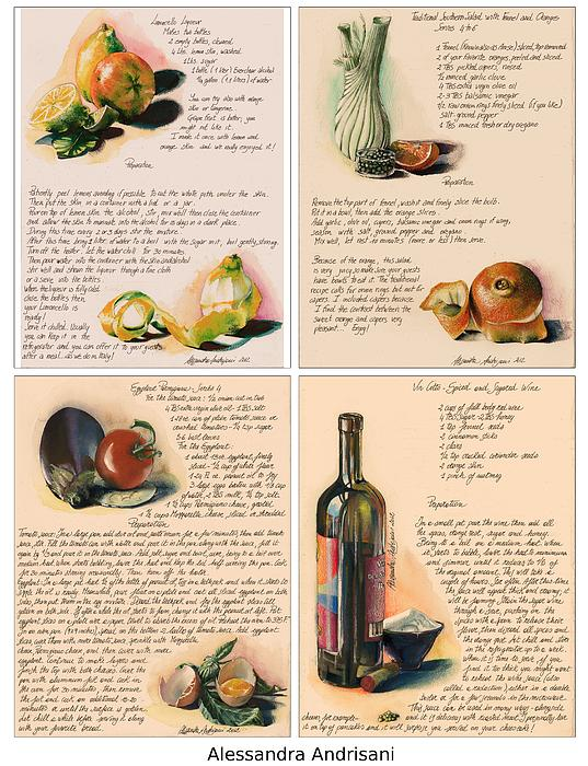 Four Painted Recipes Print by Alessandra Andrisani