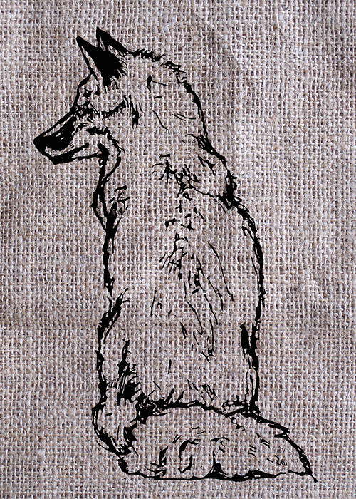 Fox On Burlap  Print by Konni Jensen