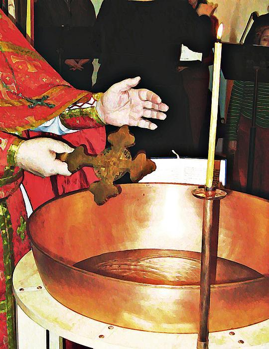 Fr Yakov Blesses Water Print by Sarah Loft