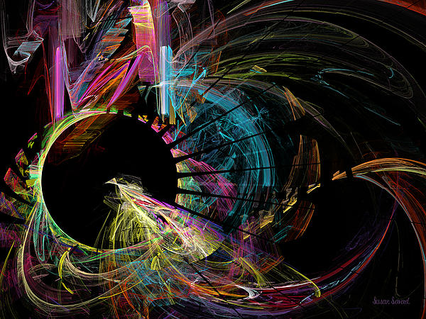 Fractal - Black Hole Print by Susan Savad