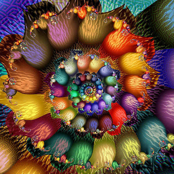 Fractal Textured Spiral Print by Peggi Wolfe
