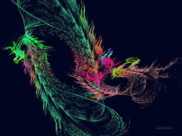 Fractal - Winged Dragon Print by Susan Savad