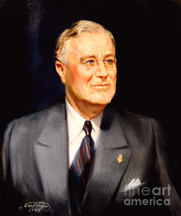 Frainklin Delano Roosevelt Print by Art By Tolpo Collection