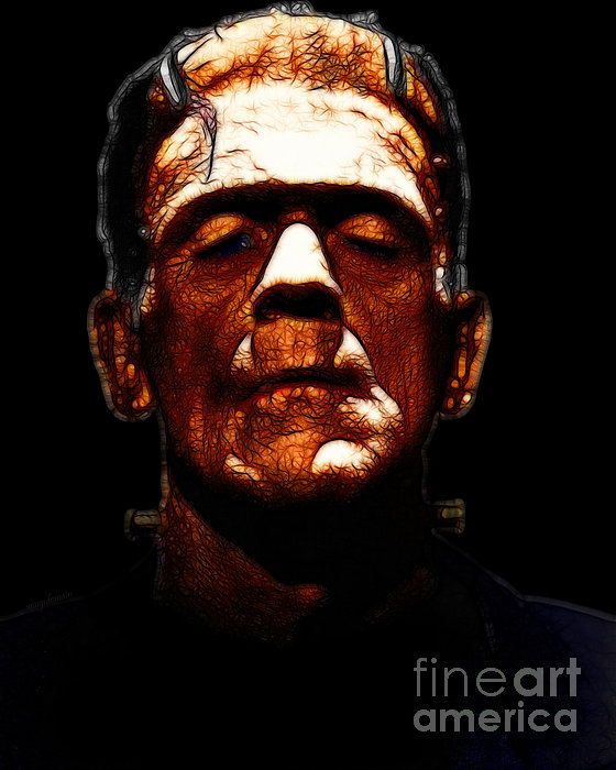 Frankenstein - Black Print by Wingsdomain Art and Photography
