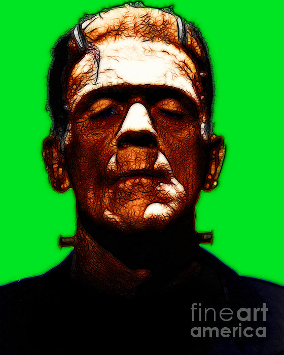 Frankenstein - Green Print by Wingsdomain Art and Photography