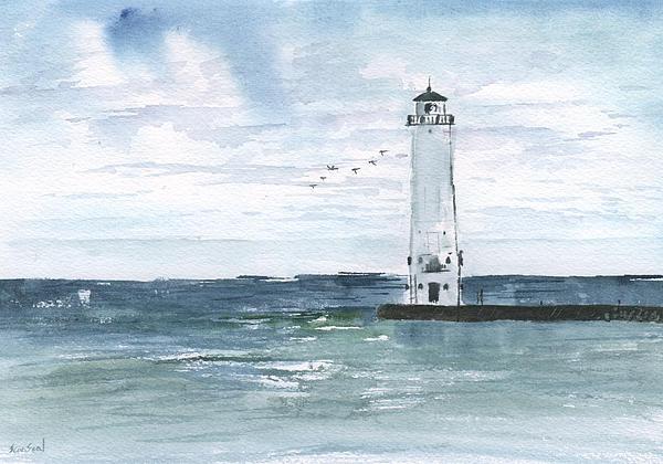 Frankfort Harbor Light Print by Sean Seal