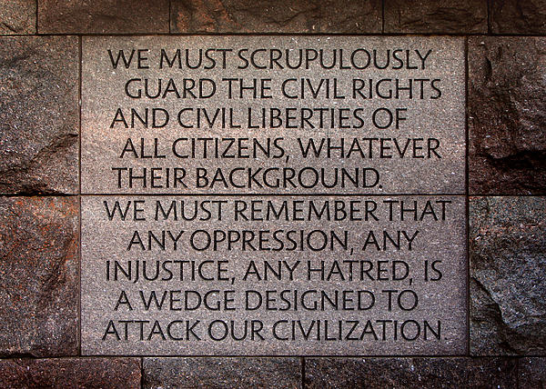 Franklin Delano Roosevelt Memorial Civil Rights Quote Print by John Cardamone