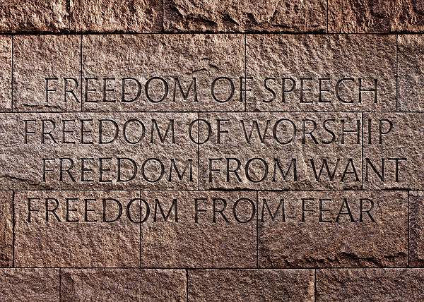 Franklin Delano Roosevelt Memorial Freedom Quote Print by John Cardamone