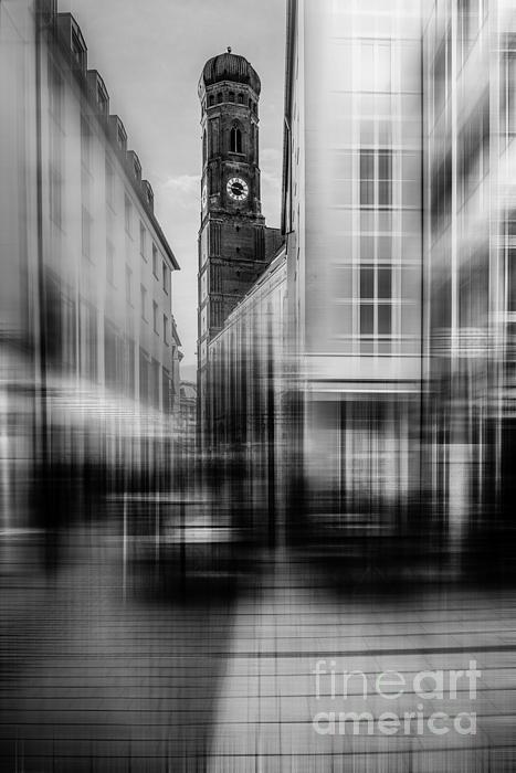 Frauenkirche - Muenchen V - Bw Print by Hannes Cmarits