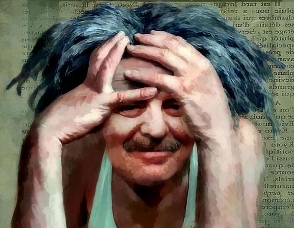Frazzled Self Portrait Print by James Stough