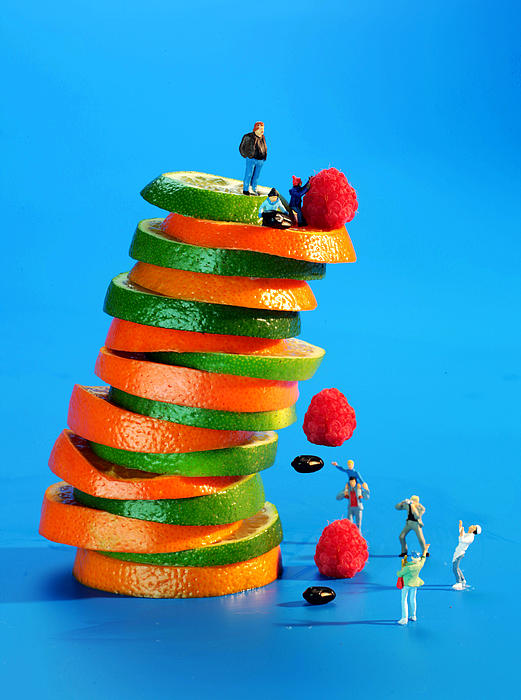 Free Falling Bodies Experiment On Fruit Tower Print by Paul Ge