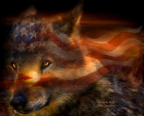 Freedom Wolf Print by Carol Cavalaris