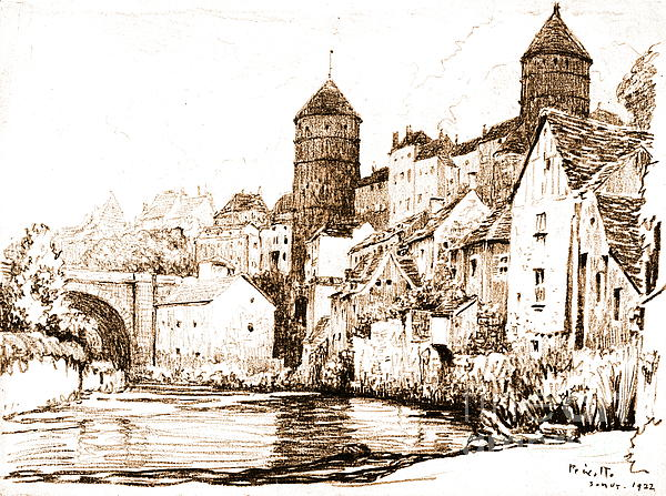 French Fortified Town 1922 Print by Padre Art