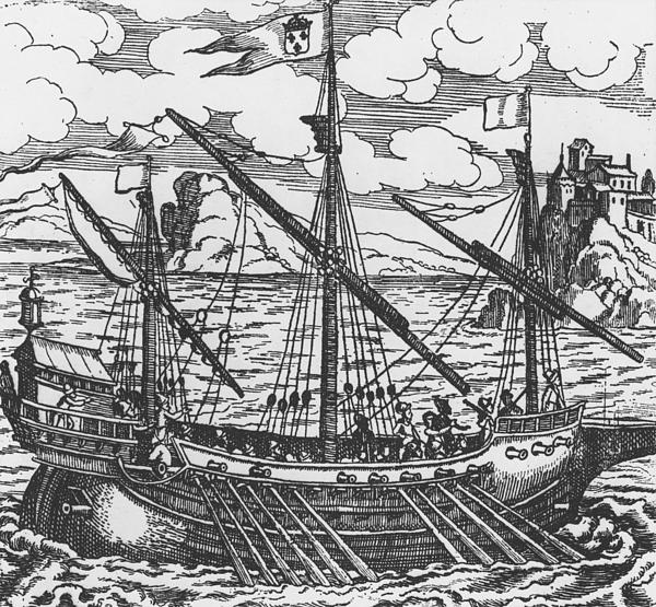 French Galley Operating In The Ports Of The Levant Since Louis Xi Print by French School