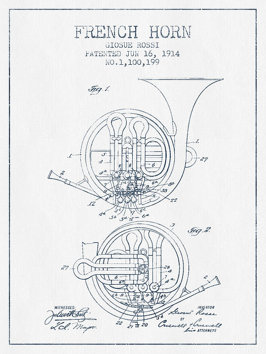 French Horn Patent From 1914 - Blue Ink Print by Aged Pixel