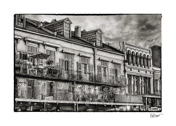 French Market View In Black And White Print by Brenda Bryant