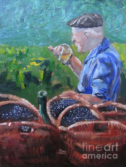 French Vineyard Worker Print by Kendal Greer