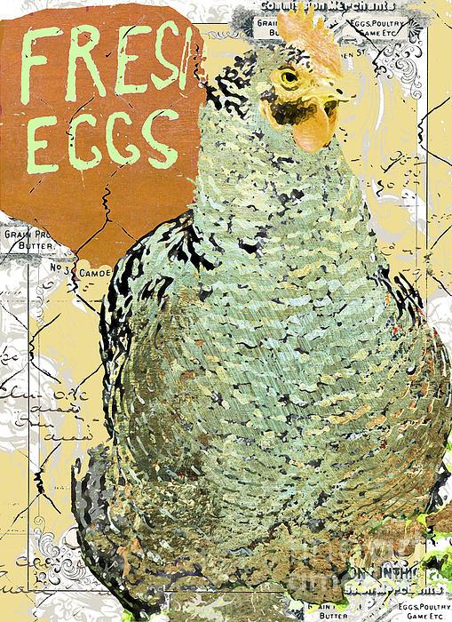 Fresh Eggs Hen Print Print by Adspice Studios
