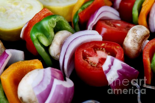 Fresh Veggie Kabobs On The Grill Print by Peggy J Hughes