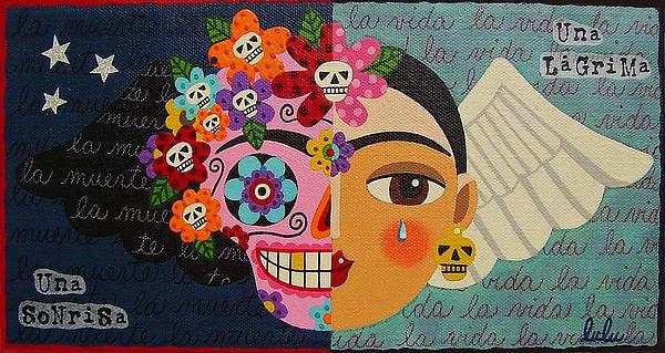 Frida Kahlo Sugar Skull Angel Print by LuLu Mypinkturtle