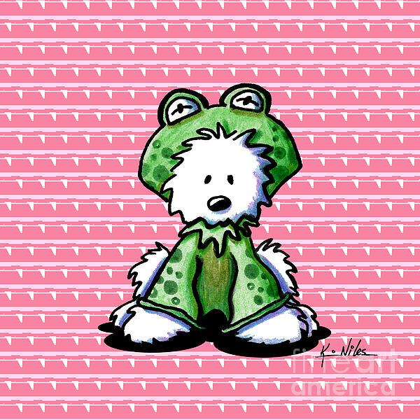 Frog Prince Westie Dog Print by Kim Niles