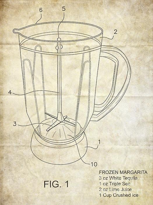 Frozen Margarita Recipe Patent Print by Edward Fielding