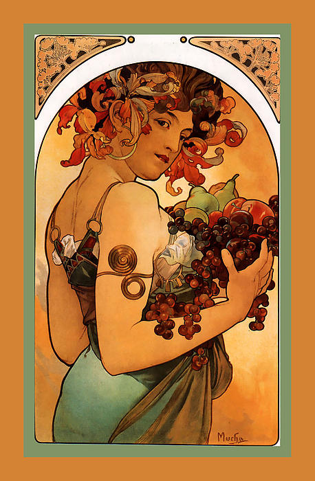 Fruit Print by Alphonse Maria Mucha
