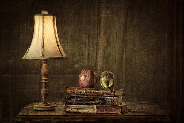 Fruit And Books Print by Erik Brede