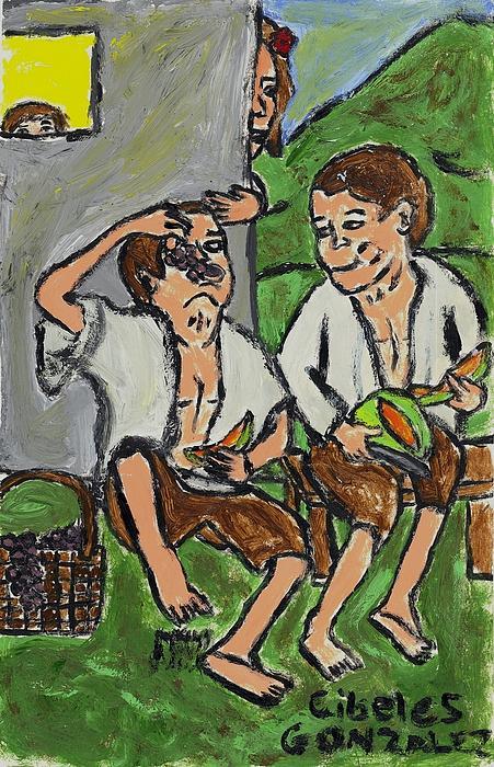 Fruit Eating Boys In Seville Print by Cibeles Gonzalez