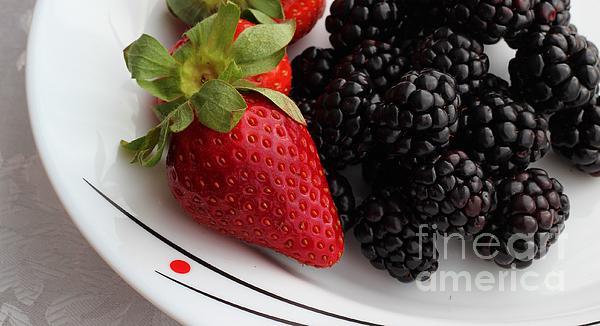 Fruit II - Strawberries - Blackberries Print by Barbara Griffin
