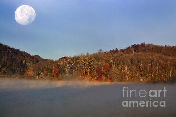 Full Moon Big Ditch Lake Print by Thomas R Fletcher