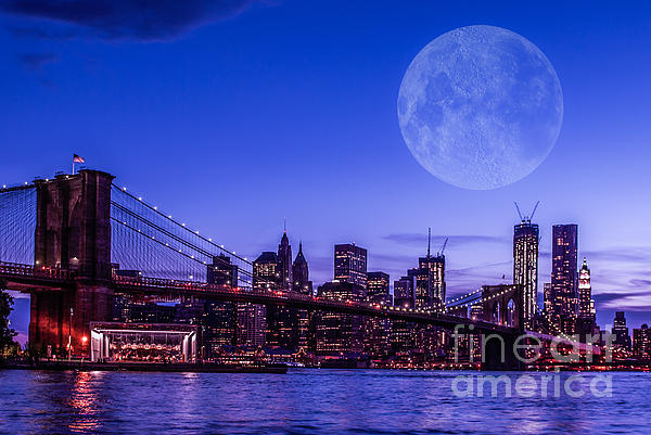 Full Moon Over Manhattan II Print by Hannes Cmarits