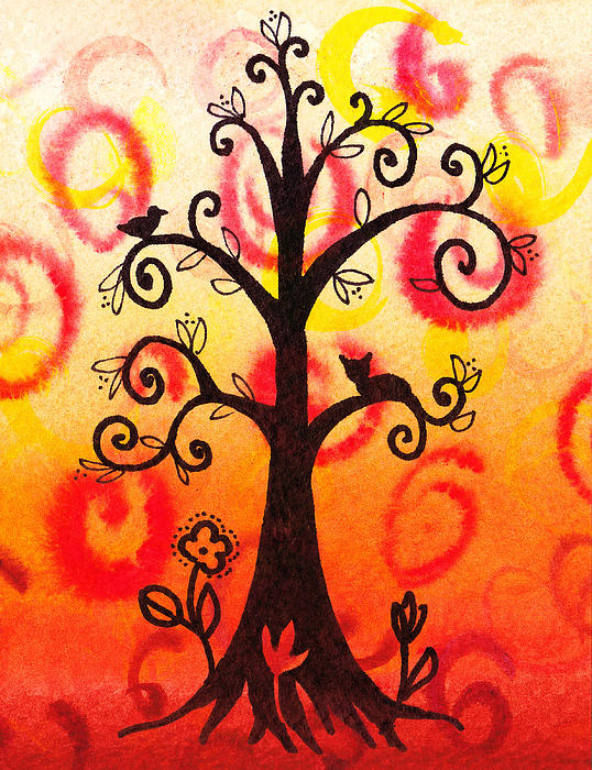 Fun Tree Of Life Impression V Print by Irina Sztukowski