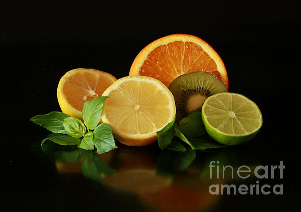 Fun With Citrus And Kiwi Fruit Print by Inspired Nature Photography By Shelley Myke