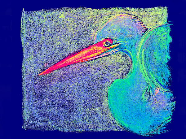 Sue Jacobi - Funky Great Egret Twists and Turns Art Prints