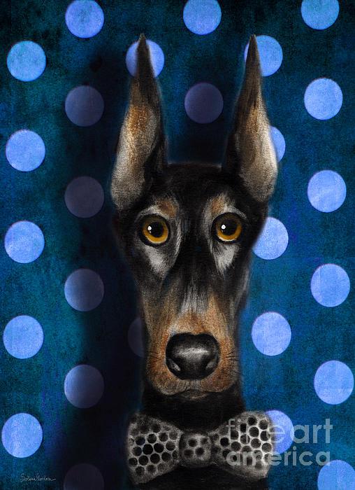 Funny Doberman Pincher Gentleman Dog Portrait Print by Svetlana Novikova