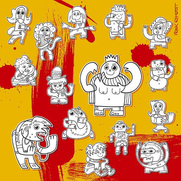 Funny Doodle Characters Urban Art Print by Frank Ramspott