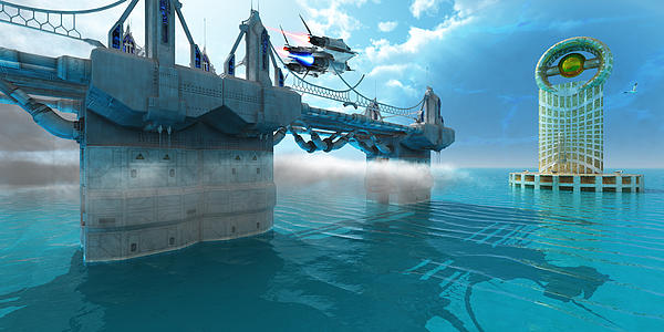 Futuristic Skyway Print by Corey Ford